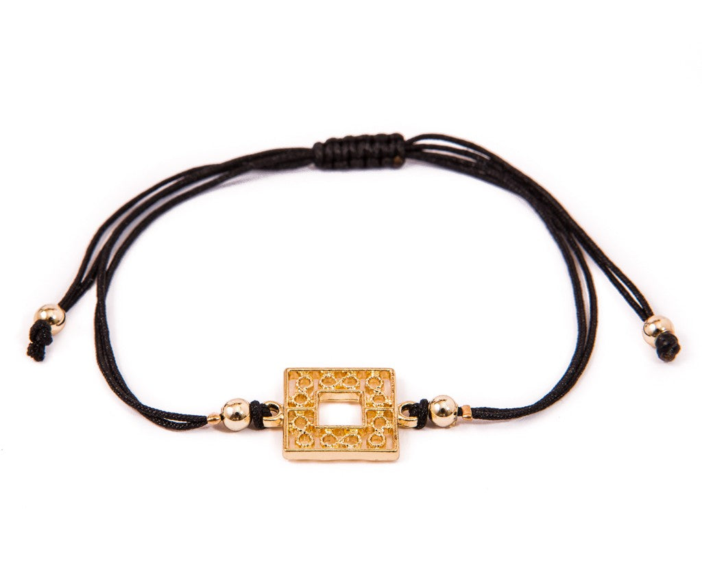 String Bracelet Golden Rectangle - Black - boom-ibiza