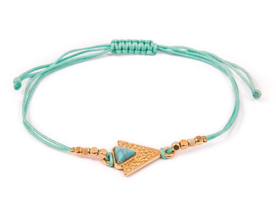 String Bracelet Turquoise triangle - Green
