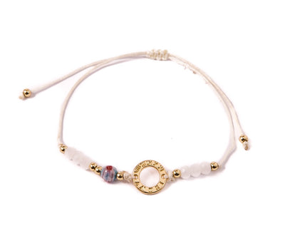 String Bracelet Golden Ring - White - boom-ibiza