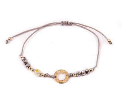 String Bracelet Golden Ring - Silver - boom-ibiza