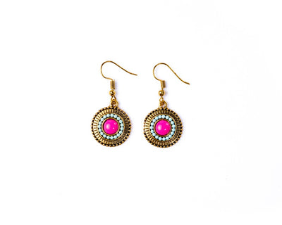 Dangle Earrings Purple Sun - boom-ibiza
