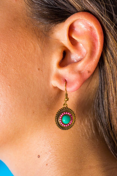 Dangle Earrings Turquoise Sun - boom-ibiza