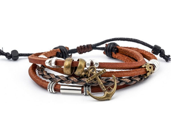 leather multistrand bracelet sailor - boom-ibiza