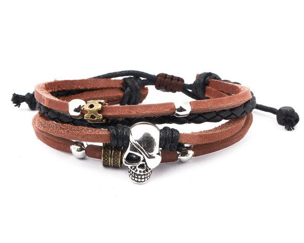 Leather Bracelet with Skul Charm - boom-ibiza