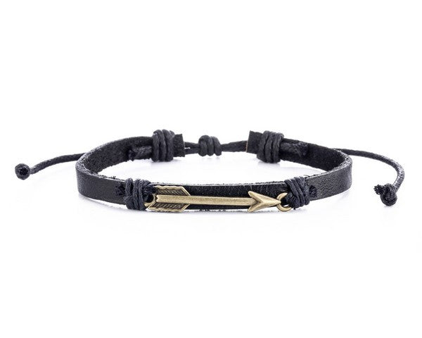 Leather Bracelet with Arrow Charm - boom-ibiza