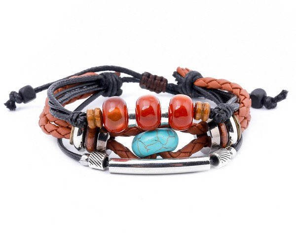 leather multistrand bracelet turquoise bead