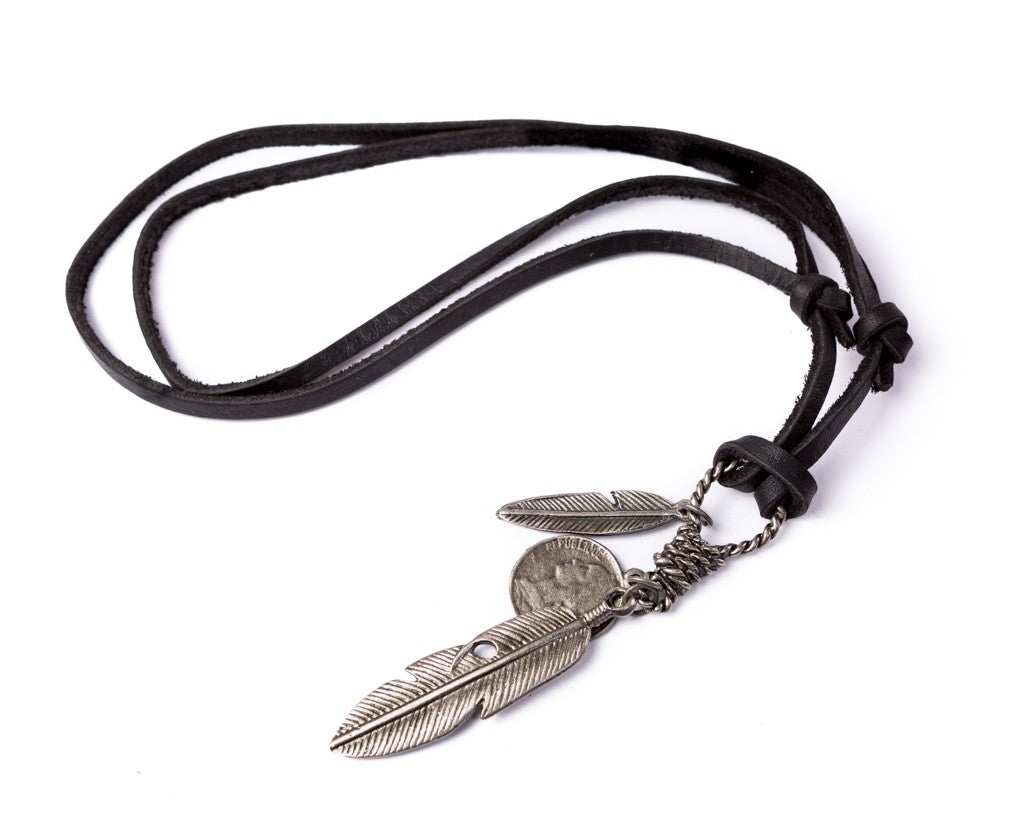 Leather Necklace Feathers Charm - Black