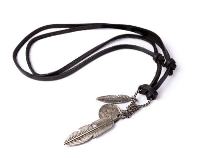 Leather Necklace Feathers Charm - Black - boom-ibiza