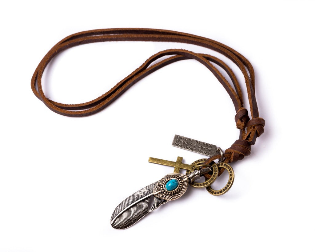 Leather Necklace with Feather Turquoise Stone Charm