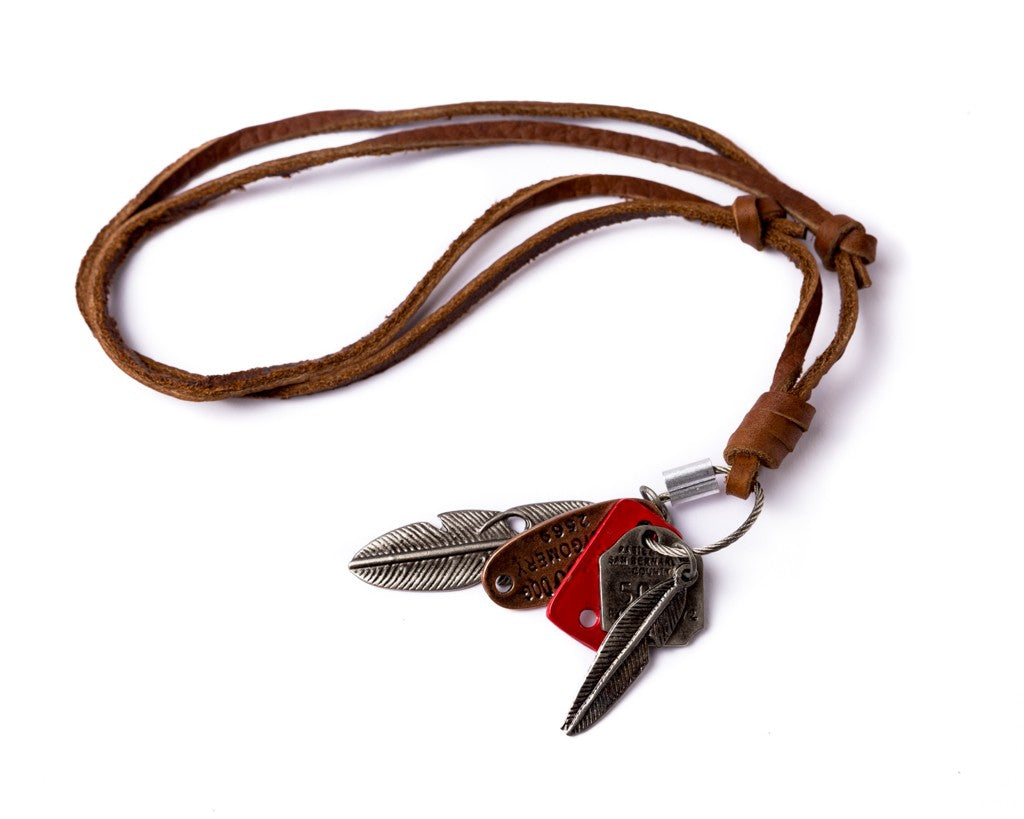 Leather Necklace feathers Charm