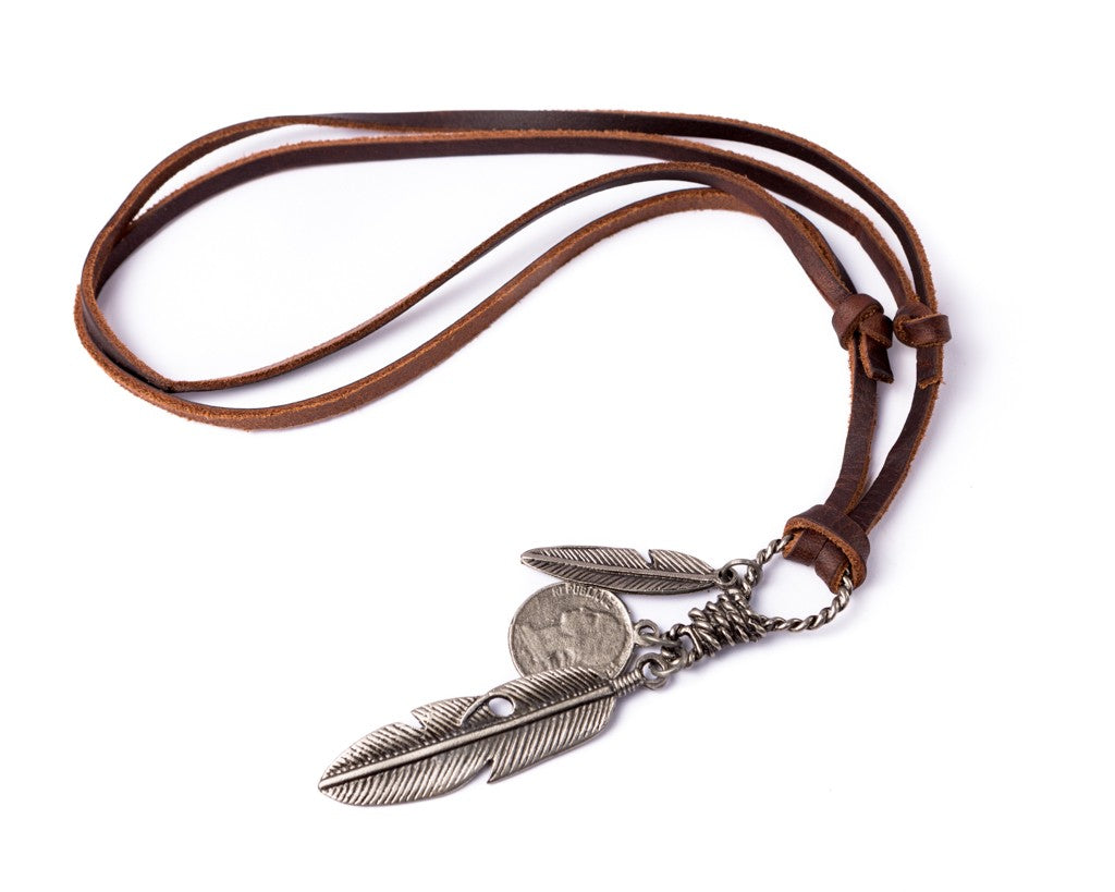 Leather Necklace Feathers Charm - Brown