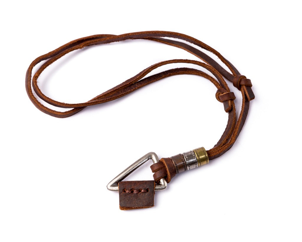Leather Necklace Triangle Charm - Brown