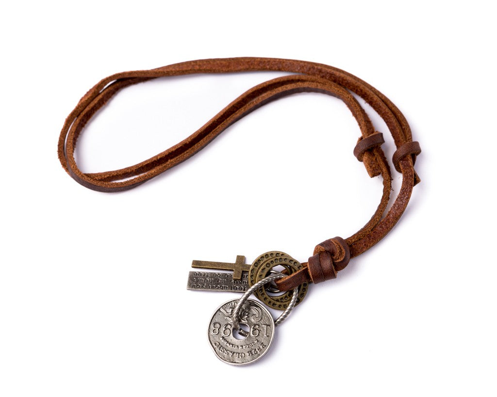 Leather Necklace Coin Charm