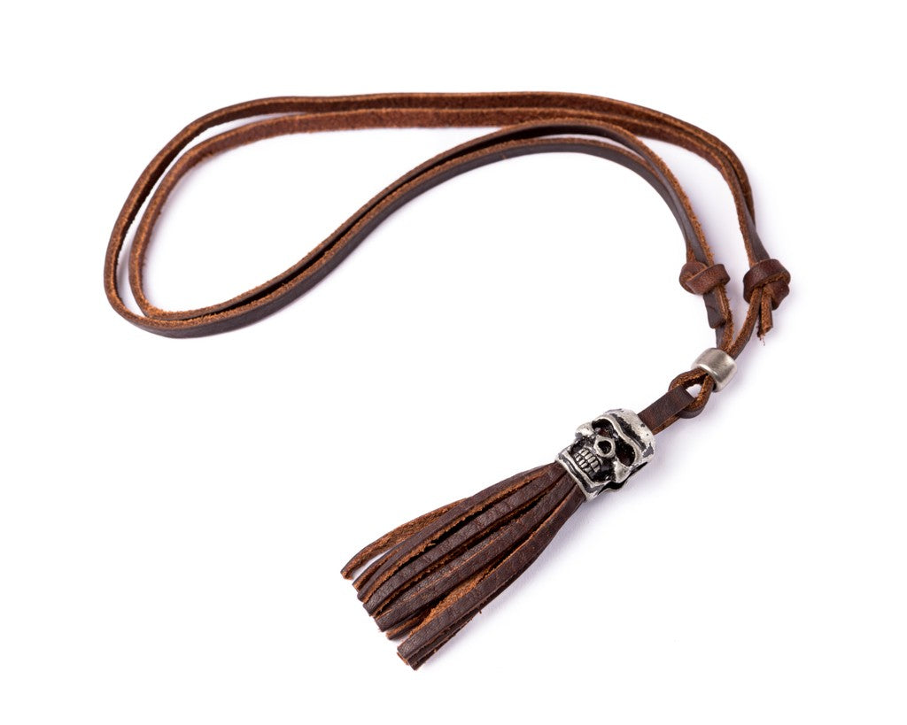 Leather Necklace Skull Charm- Leather Stripes