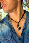 Leather Necklace Triangle Charm - Black - boom-ibiza