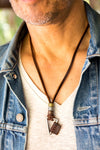 Leather Necklace Triangle Charm - Brown - boom-ibiza