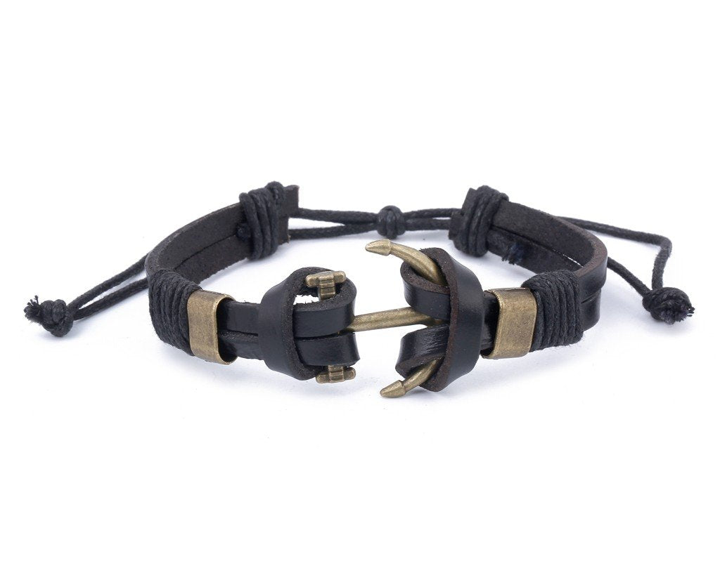 Leather Bracelet Large Brass anchor