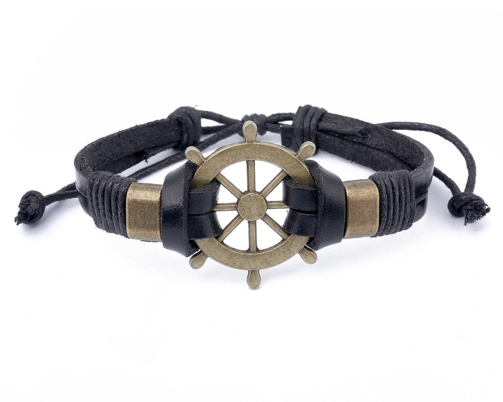 Leather Bracelet Large Brass Ship Wheel