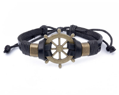 Leather Bracelet Large Brass Ship Wheel - boom-ibiza