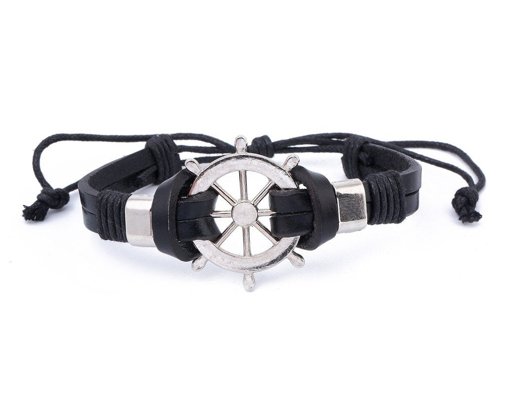 Leather Bracelet Large metal Ship Wheel