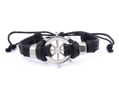 Leather Bracelet Large metal Ship Wheel - boom-ibiza