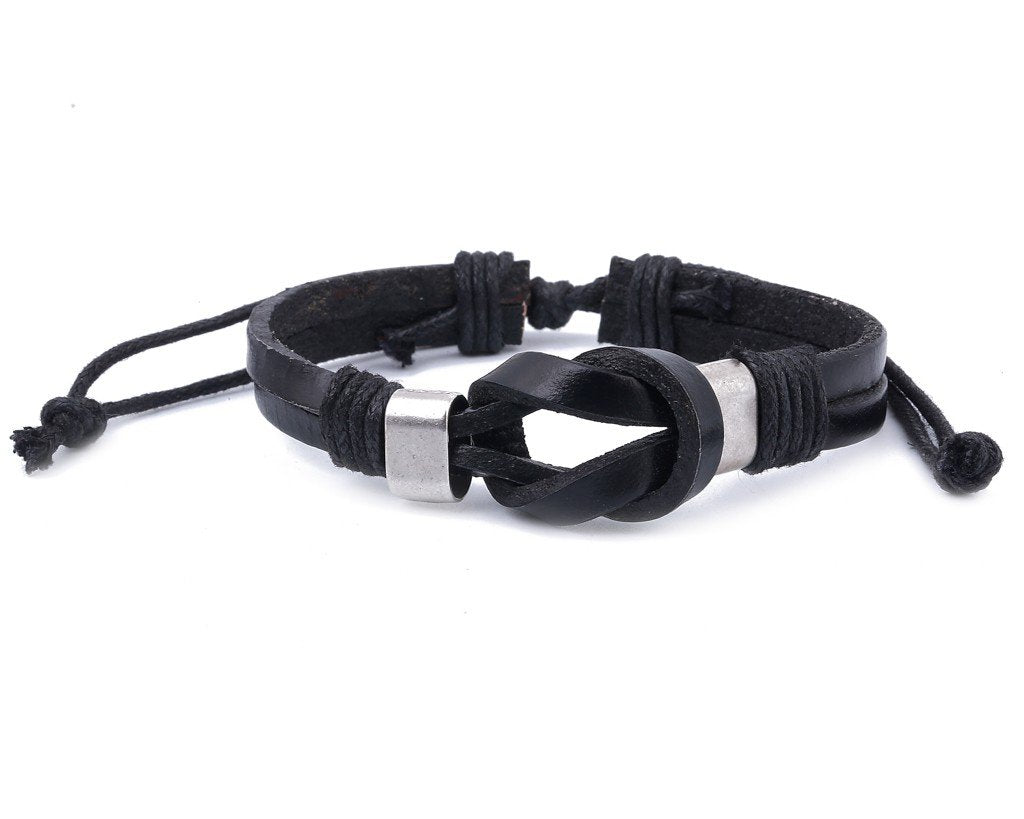 leather bracelet double knot - black