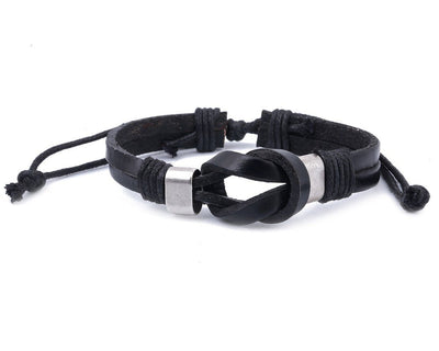 leather bracelet double knot - black - boom-ibiza