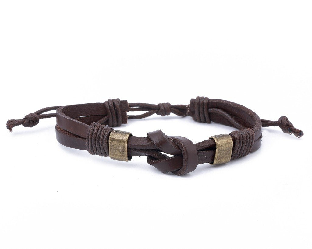 leather bracelet double knot - brown