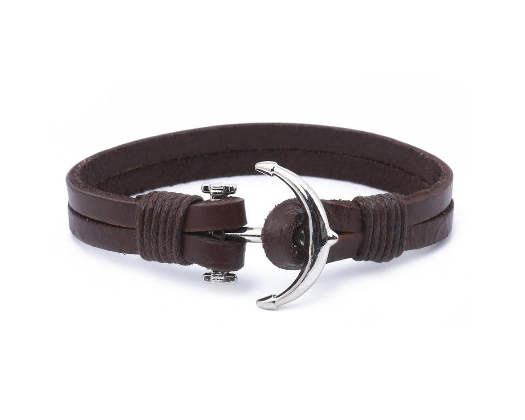 Leather Bracelet Large metal anchor