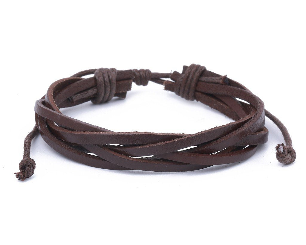 leather bracelet braided loose - brown