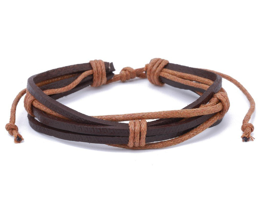 leather bracelet multistrand with string - boom-ibiza