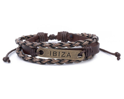 Leather Multistrand Bracelet brass Ibiza - boom-ibiza