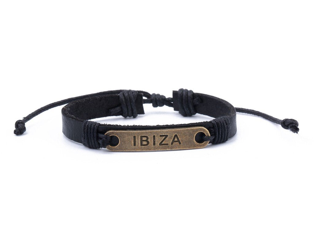 Leather Bracelet Brass Ibiza Black