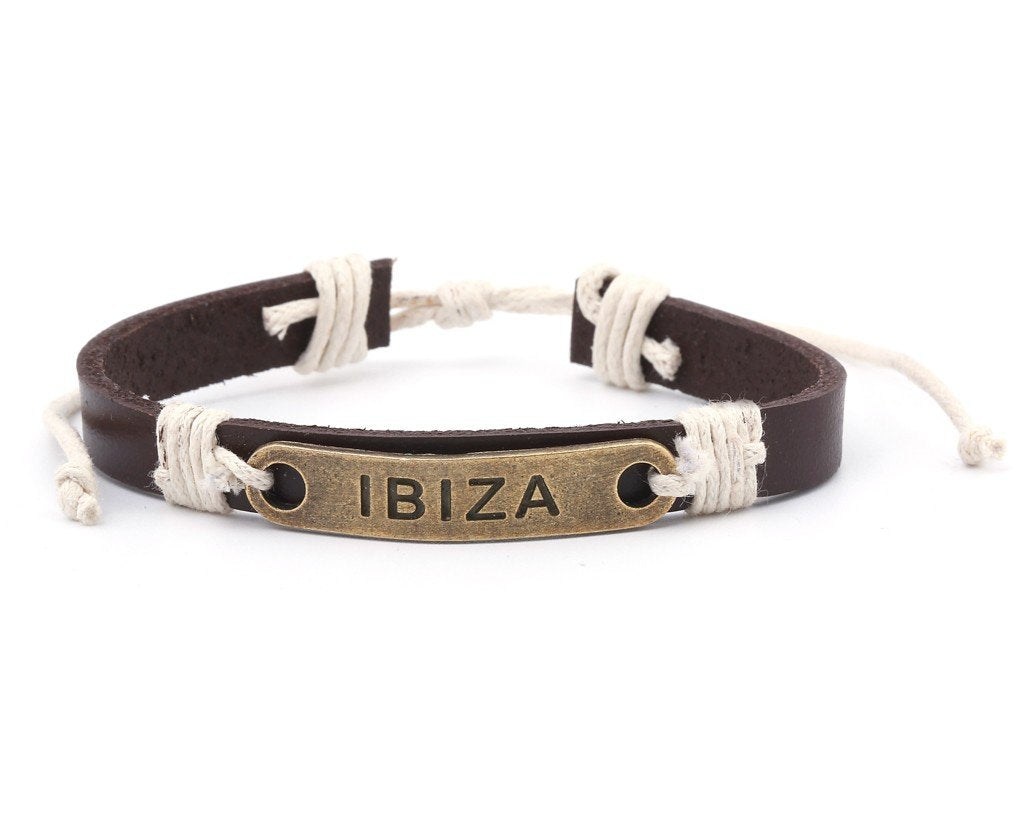 Leather Bracelet Brass Ibiza brown