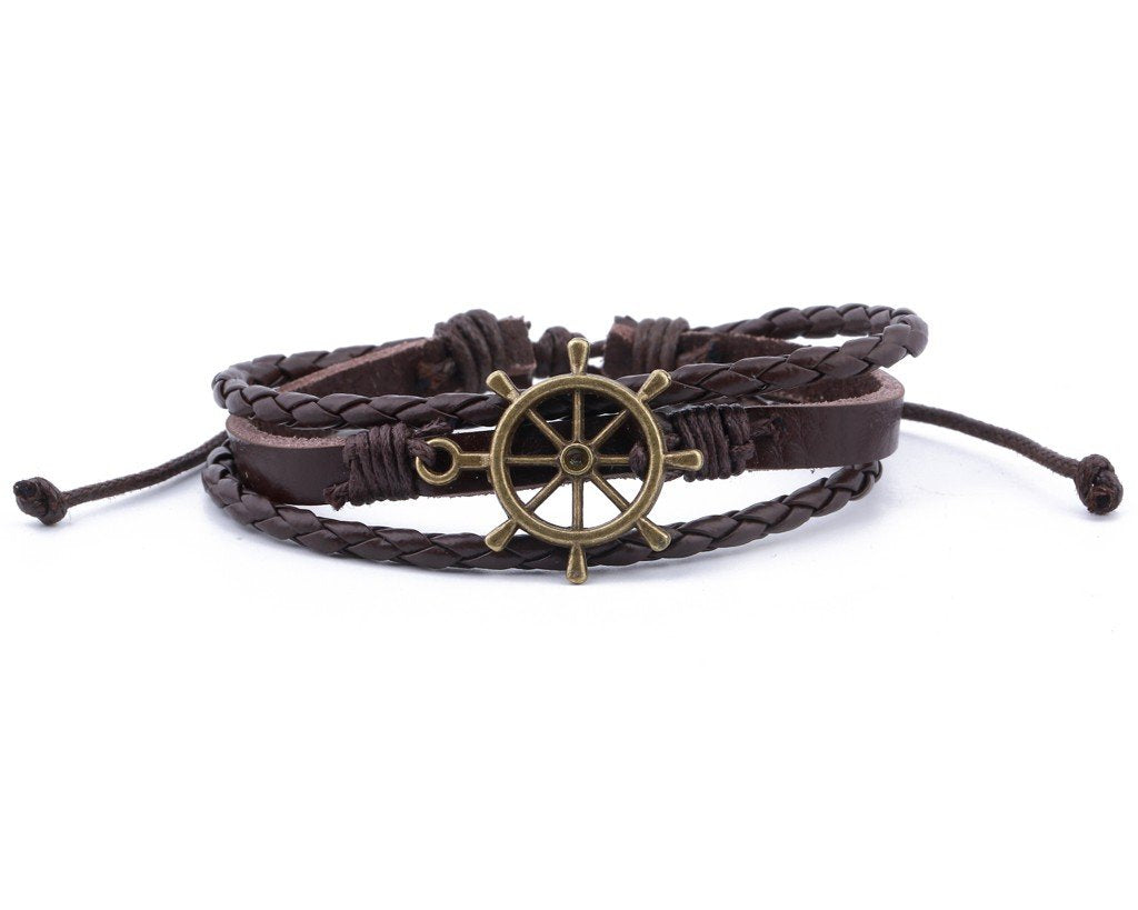 Leather Multistrand Bracelet brass Ship Wheel