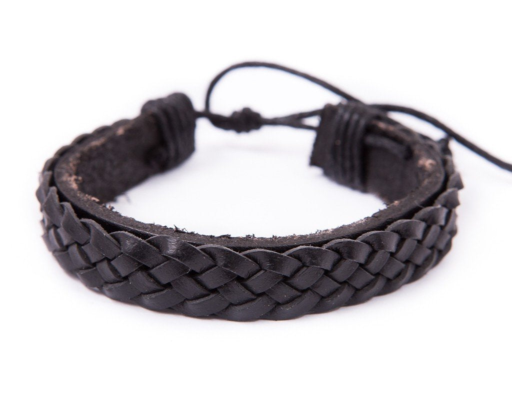 leather bracelet braided cuff