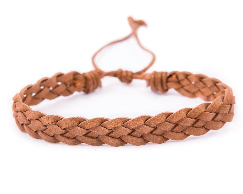 leather bracelet bracelet braided - light brown