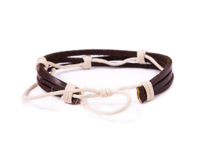 leather bracelet multistrand - white cord - boom-ibiza