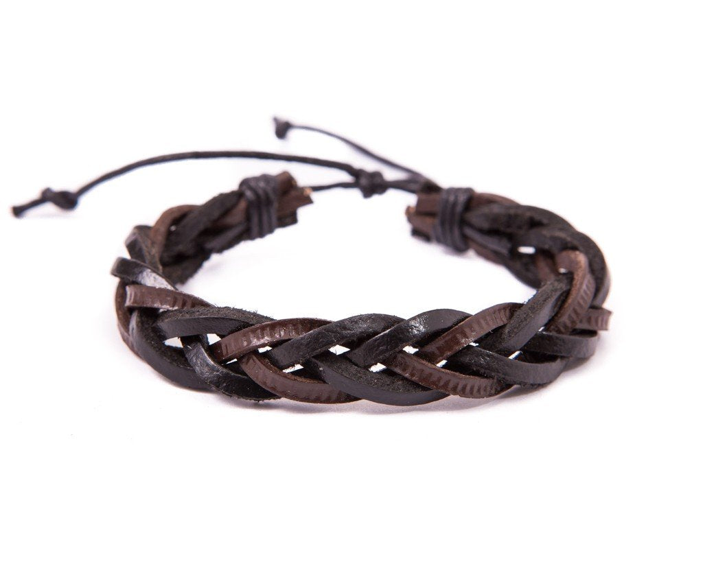 leather bracelet braided - mixed brown