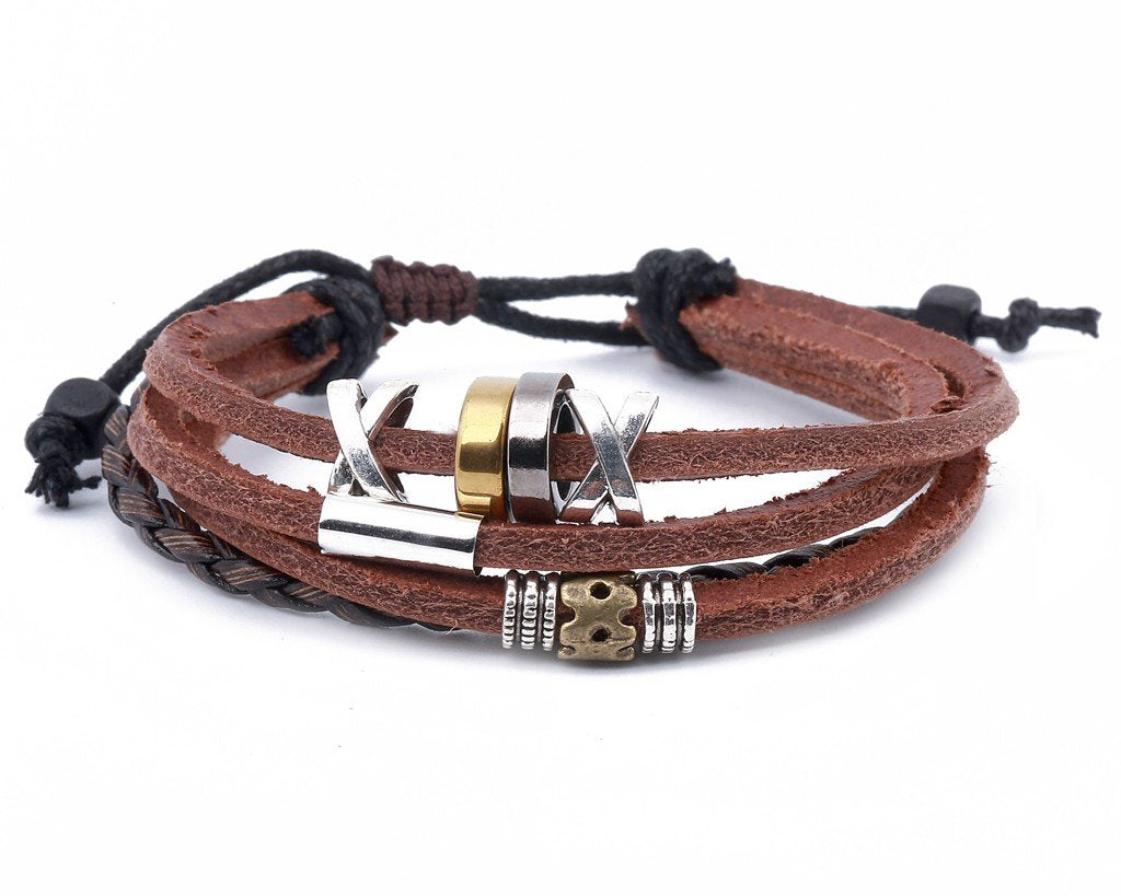 leather multistrand bracelet metallic bead