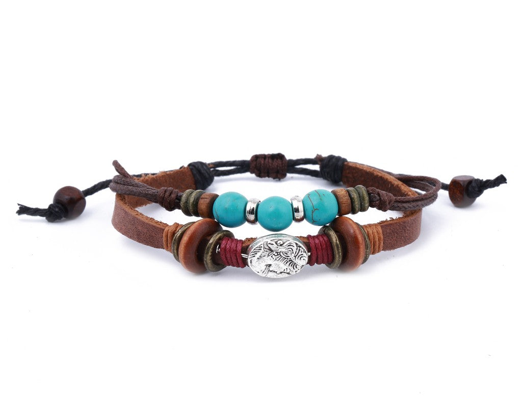 leather bracelet - Ibiza Boho portrait charm