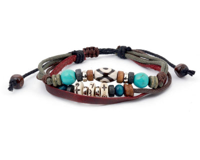 leather multistrand bracelet metal hippie beads