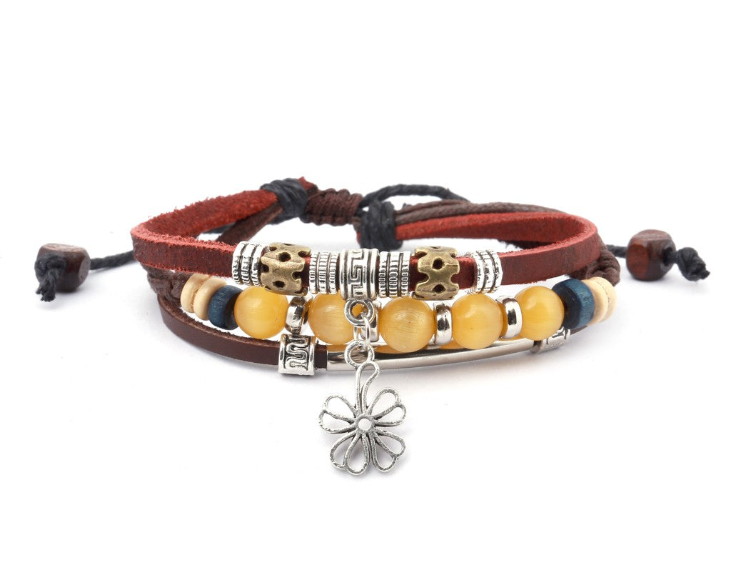 leather multistrand bracelet flower charm - boom-ibiza