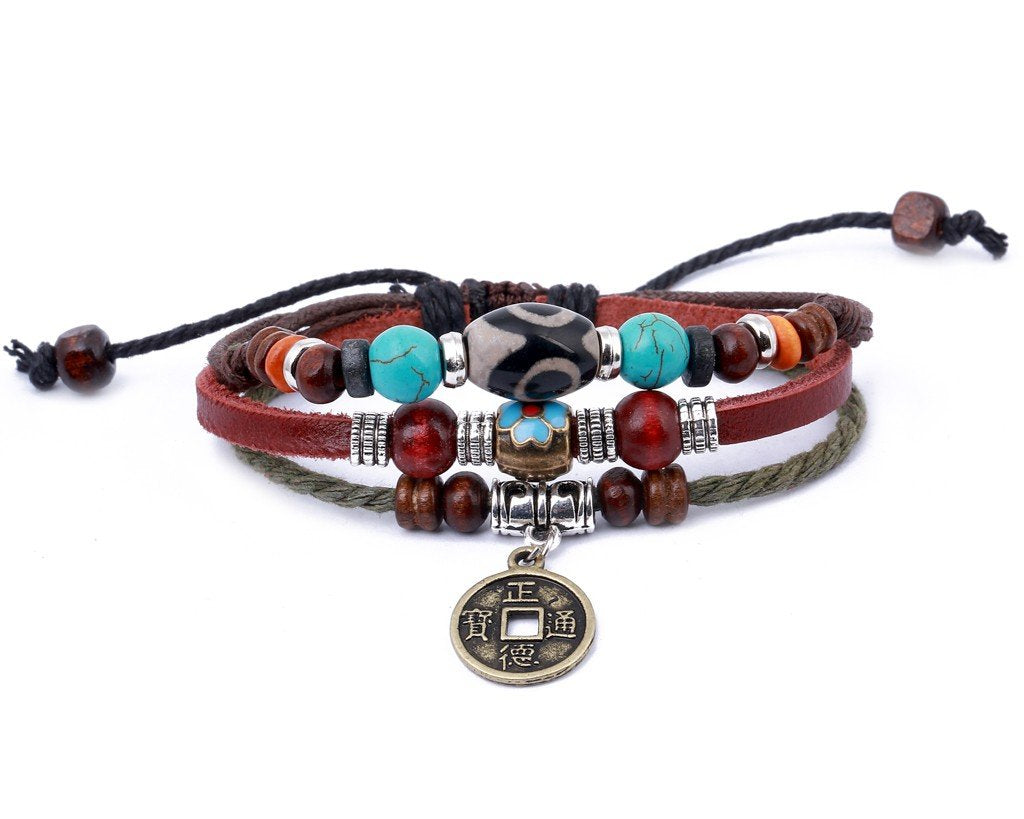 leather multistrand bracelet metal coin charm