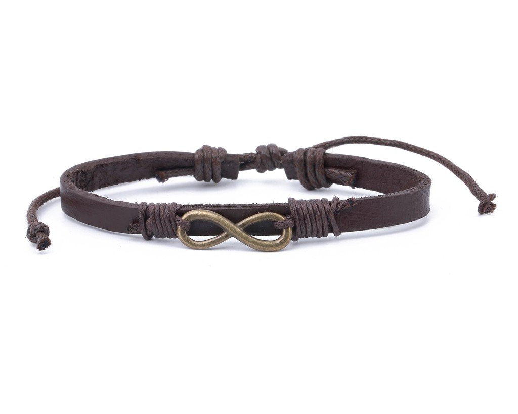 Leather Bracelet Brass infinity brown