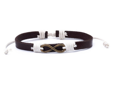 Leather Bracelet Brass infinity black - boom-ibiza