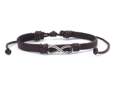 Leather Bracelet metal infinity brown