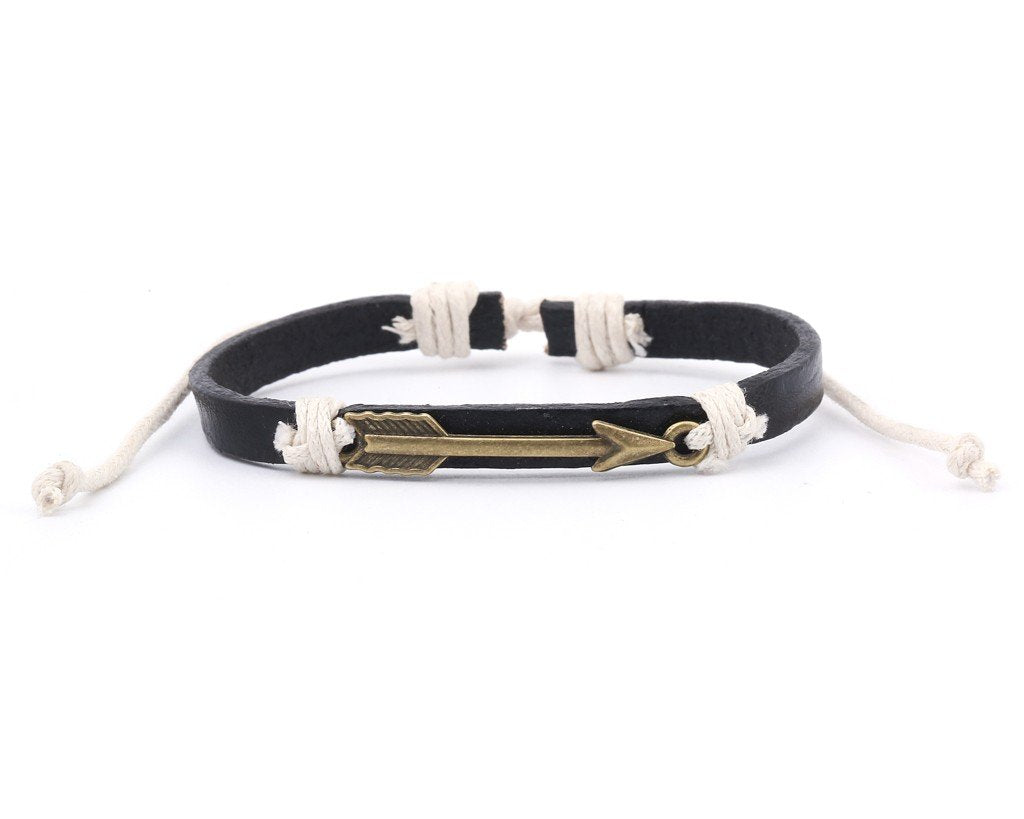 Leather Bracelet Brass arrow black