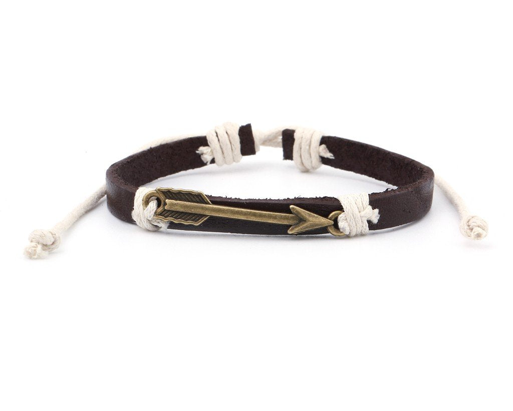 Leather Bracelet Brass arrow brown