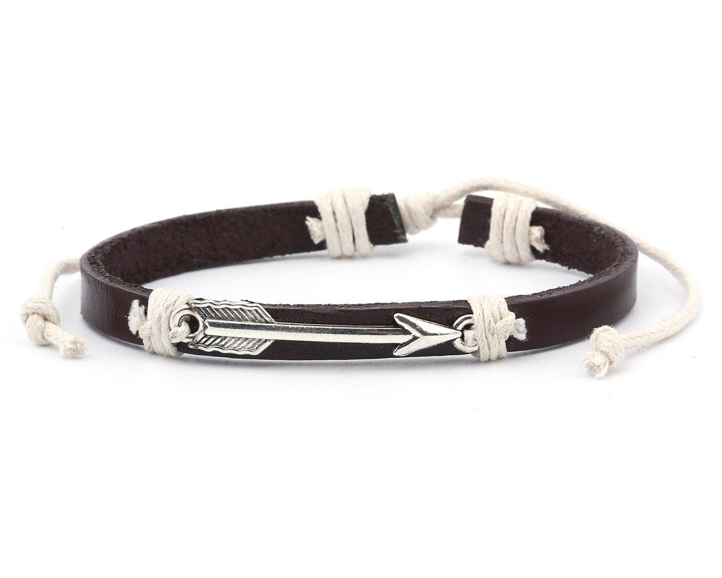 Leather Bracelet metal arrow brown